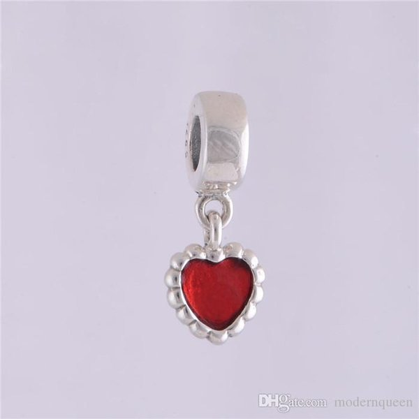 Red heart dangle charms beads authentic S925 sterling silver fits for pandora style bracelet free shipping hot sale 5pcs/lot