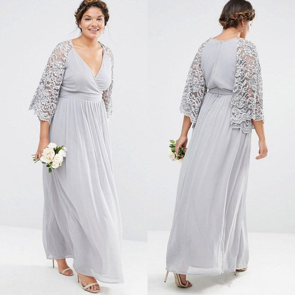 Silver Gray Lace Chiffon Bohemian Plus Size Bridesmaid Dresses Modest Bell  Sleeves Country Wedding Party Junior Bridesmaid Dress Cheap Bridesmaids ...