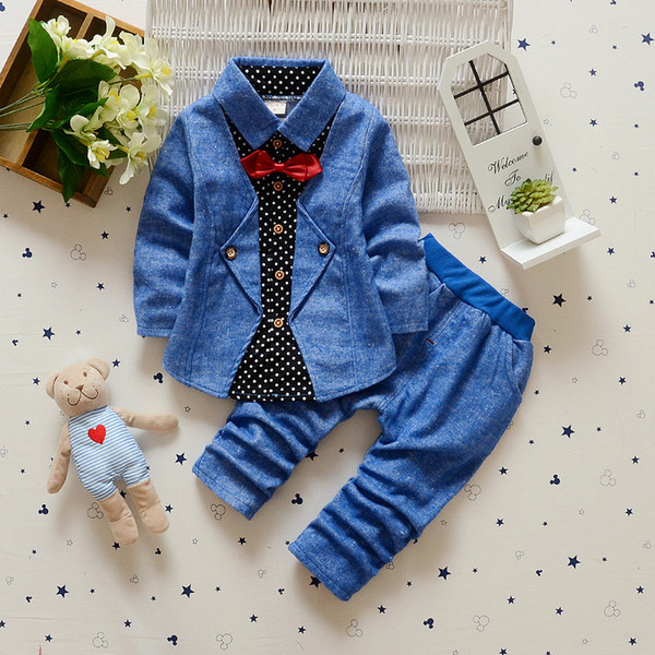 New Autumn Spring Baby Boy Clothes Set Bow Tie Shirt+Pants 2 Pieces Clothes Suit Boys Gentleman Suit 4 s/l