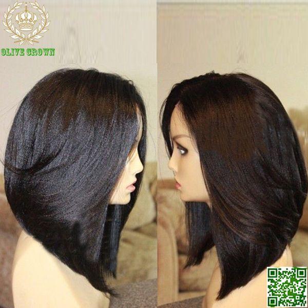 Light Yaki Human Hair Wigs Bob Style Brazilian Human Hair Full Lace Wigs Bob Yaki Straight Lace Front Human Hair Bob Wigs
