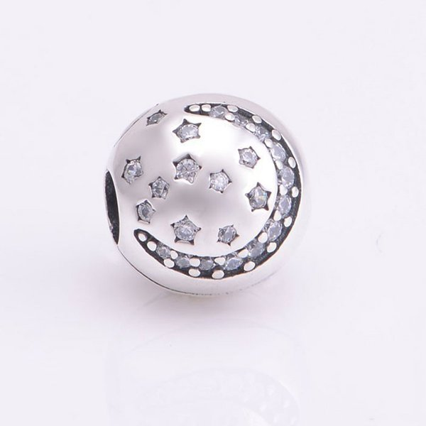 Moon Star Clip Charms Bead 925 Sterling-Silver-Jewelry Clear Crystal Stopper Lock Beads DIY Brand Logo Bracelets Making Accessories HB149