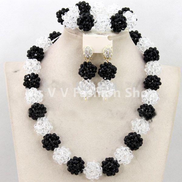 2019 new arrival black white Women Birthday Gift Crystal Jewelry Set Handmade ball Choker Nigerian Wedding Necklace Set Free Shipping