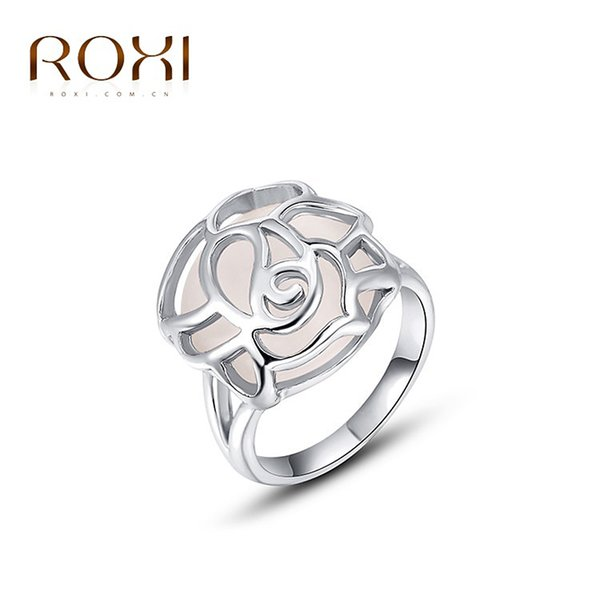 ROXI Chirstmas Gift White gold Color Color Romantic Hollow Opal Ring Statement Rings Fashion Jewelry For Women Party Wedding