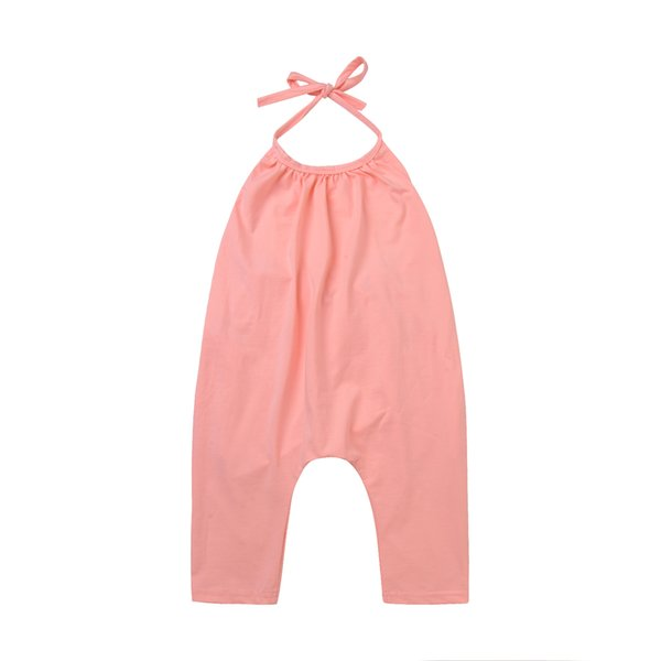 Mikrdoo 2017 Summer Newborn Baby Toddler Kids Boy Girl's Solid Color Romper Strapped Playsuit Blackless Harem Trouser Long Pants Wholesale