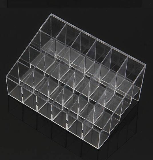 top popular Wholesale-Fress shipping Clear Acrylic 24 Lipstick Useful Holder Display Stand Cosmetic Organizer Makeup Case Hot Sell 2021
