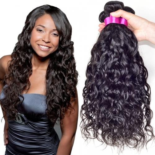 8A High Quality Indian Natuaral Wave Unprocessed Human Hair Extensions 8-30inch Natural Black Color Soft Full Dyeable 3pcs/lot Free Shipping
