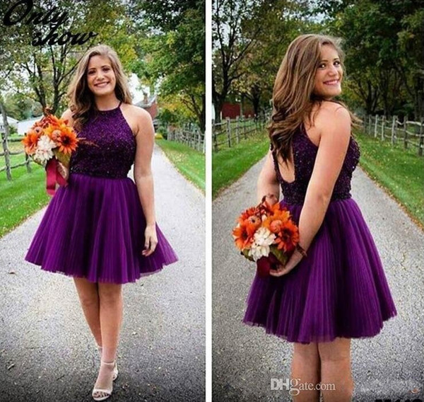 2016 New Purple Short Homecoming Dresses Halter Backless Beads Tulle Juniors Mini Prom Party Gowns Sweet 16 Cheap Plus Size Cocktail Dresses