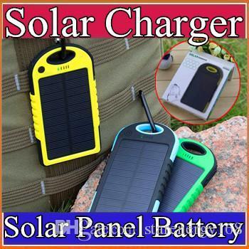 top popular 5000mAh Solar Charger Waterproof Solar Panel Battery Chargers for Smart Phone iphone 7 Tablets Camera Mobile Power Bank Dual USB B-YD 2019