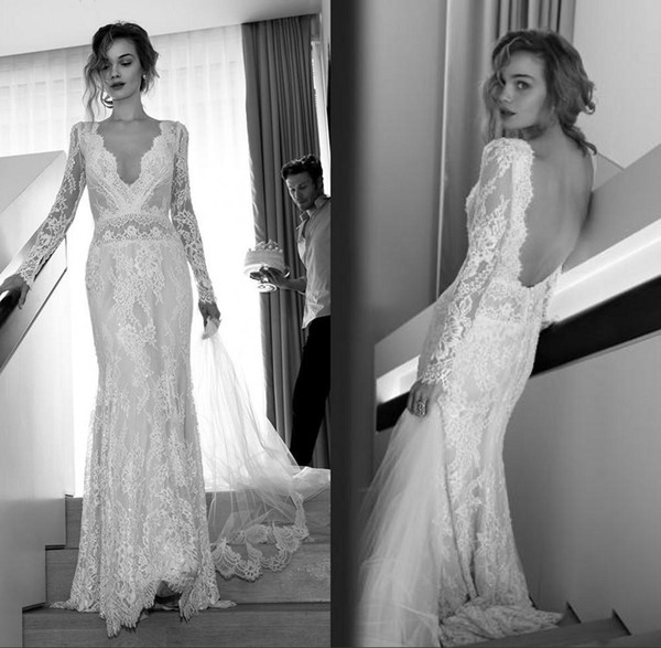 top popular Vintage Full Lace Lili Hod Wedding Dresses 2016 Deep V Neck Sheer Long Sleeves Backless Court Train BOHO Bridal Gowns For Beach Wedding 2019