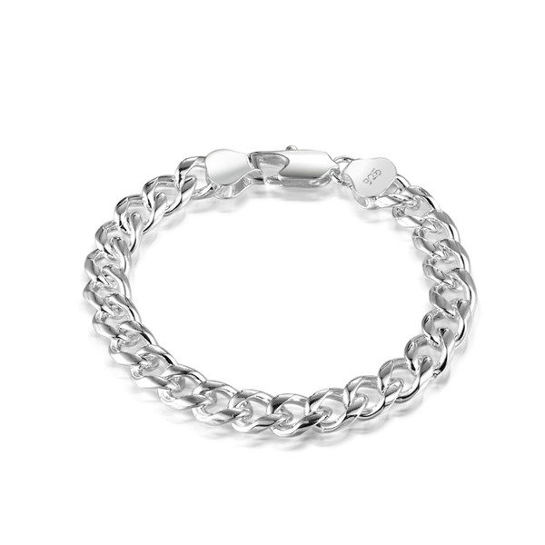 Men's 925 Sterling Silver 9mm thick Curb Chain long buckle Clasp Bracelet Sterling Silver Bracelet