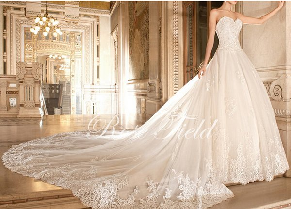 Luxurious A Line Sweetheart Appliqued Lace Detachable Cathedral ...