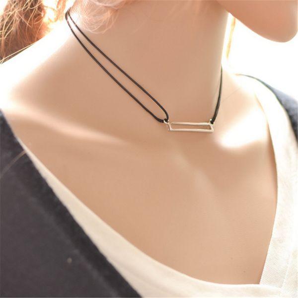 Black Gothic Collar Velvet Ribbon Necklace Multilayer Alloy Retro Rectangular Pendant Chain Chock Jewelry For Women Pack of 10PCS