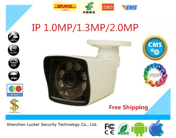 Free Shipping Plastic Case Waterproof Outdoor Bullet IP Camera 720P 960P 1080P Security Camera CCTV 6pcs Array Leds Board ONVIF