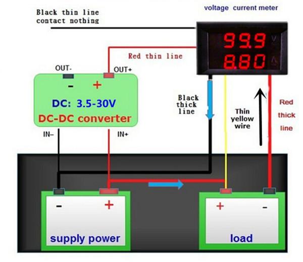 20 pcs / lot LED Affichage 3 bits DC 100V 10A Voiture Ampèremètre Voltmètre Testeur Jauge Ampèremètre Tension Moniteur de Courant