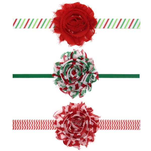 2016 Christmas Baby Chiffon Headbands Handmade Elastic Hair Accessories Beautiful Flowers Hair Flower Childrean Christmas Gift