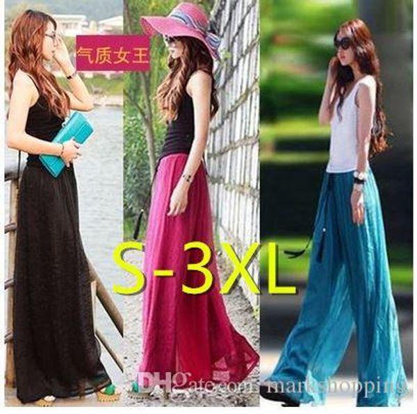 Women's bohemia silk chiffon wide flare leg maxi long pants culottes skirt high waist elastic long pants XXXL