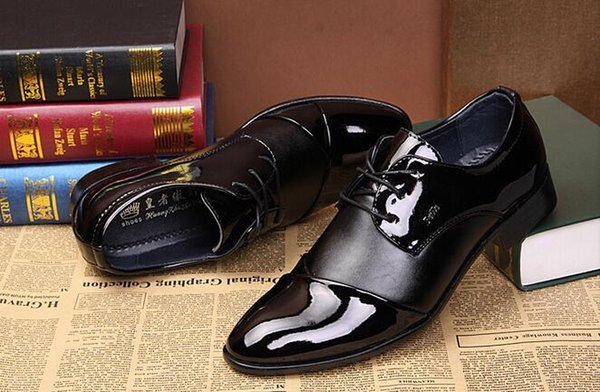 2016 Spring Korean version of casual men's business casual shoes British style patent leather shoes men's casual shoes wedding shoes