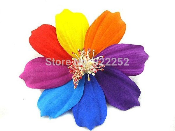 Large Colorful Artificial Fabric lucky Flower Heads With Pin,Elastic Cord,floral head wreath,Rose Brooch,Wedding Wrist Corsages