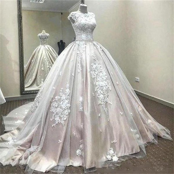 Discount Vintage Ball Gown Wedding Dresses Sleeveless Jewel Lace ...