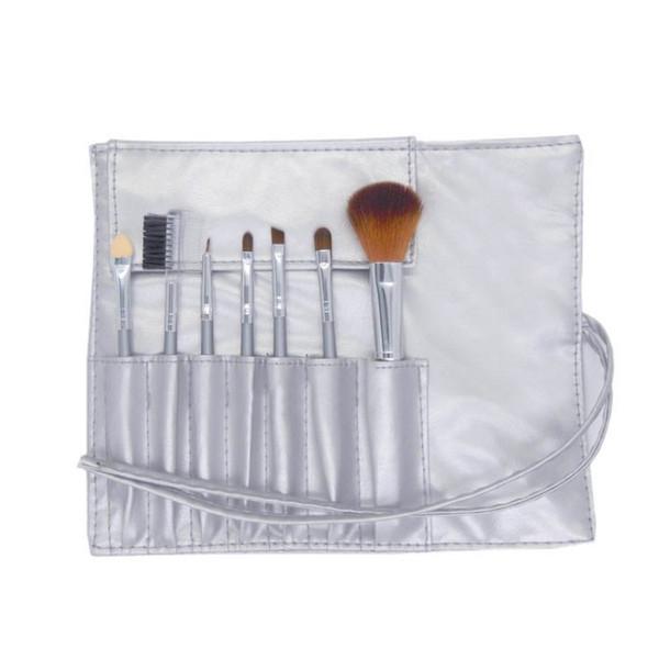 Mini Portable Makeup Brushes Sets 7pcs Cosmetic Brush Foundation Eyeshadow Eyeliner Eye Lip Make up Brush Kits With PU Leather Bag DHL Free