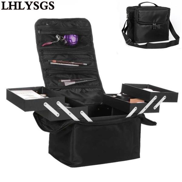 Lhlysgs Brand Women Beauty Professional Cosmetic Case Large Multilayer Clapboard Organizer Makeup Tattoos Nail Art Tool Bin Bag