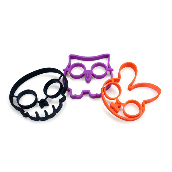 3PCS Ideal Silicone Skull Owl Rabbit Egg Fried Mould Shaper Ring Kitchen Cooking Helper Hot free shipping