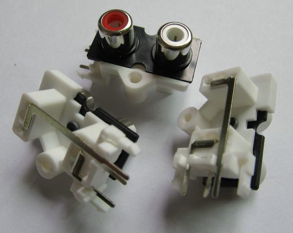 20 Pcs / 1pack Bonne qualité 2 couleurs rouge Blanc 2 pins 2 RCA prise femelle droite audio stéréo Jack audio AV Socket Connector 2 trous