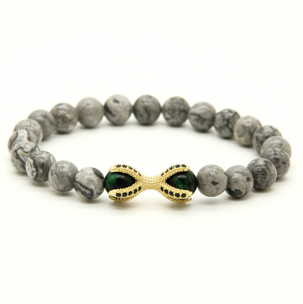 10pcs/lot Grey Picture Jasper Stone with Tiger Eye Beads Micro Inlay Black CZ Beads Eagle ClawHot Sell European Style Bracelets