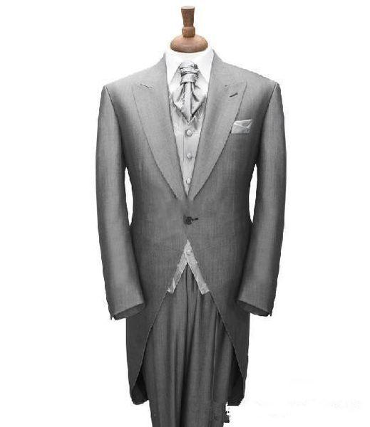 New Stylish Grey Tailcoat Groom Tuxedos Peaked Lapel Best LONG TAIL TUXEDO Men's Wedding Dress Prom Clothing (Jacket+pants+Vest)