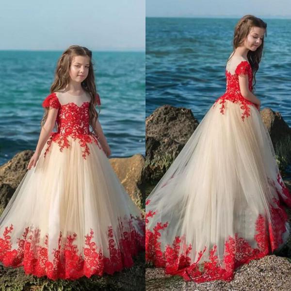 Girls Pageant Dresses 2018 Red Lace Champagne Tulle Short Sleeve Flower Girl Dresses For Garden Beach Wedding Custom Made China EN10234