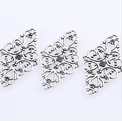 100PCs Antique Silver Hollow Filigree Flower Connectors Charms For Jewelry Making Finding 41x24mm