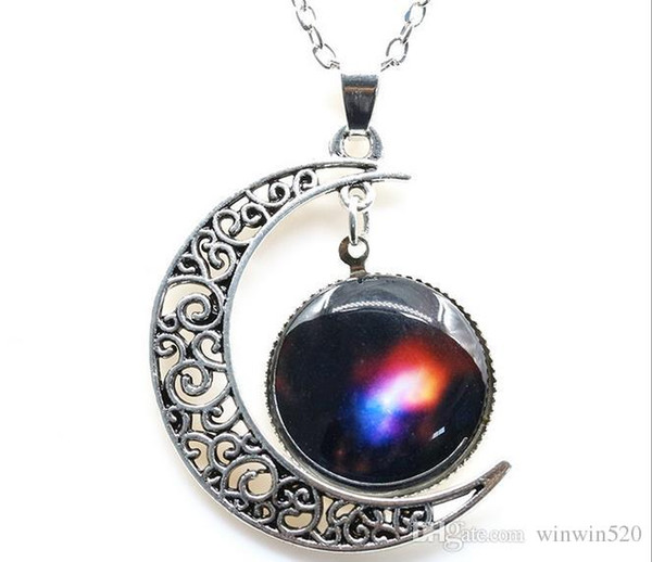 New Vintage starry Moon Outer space Universe Gemstone Pendant Necklaces