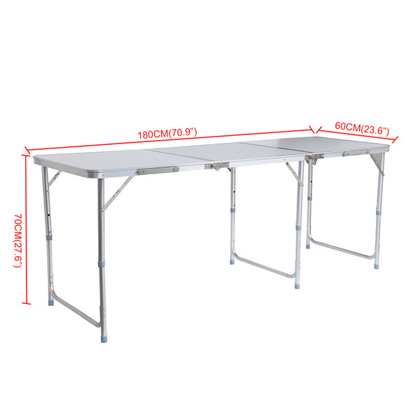 Aluminum Portable Adjustable 180cm 6ft Folding Trestle Table For Outdoor  Camping Home Picnic Table