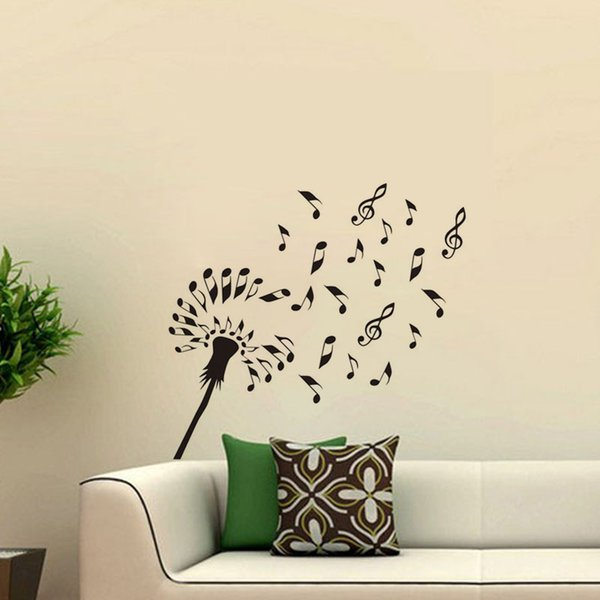 Musical Symbols Dandelion Wall Stickers Decoration Vinyl DIY Flower Wall Decals Removable Interior Design Wallpaper