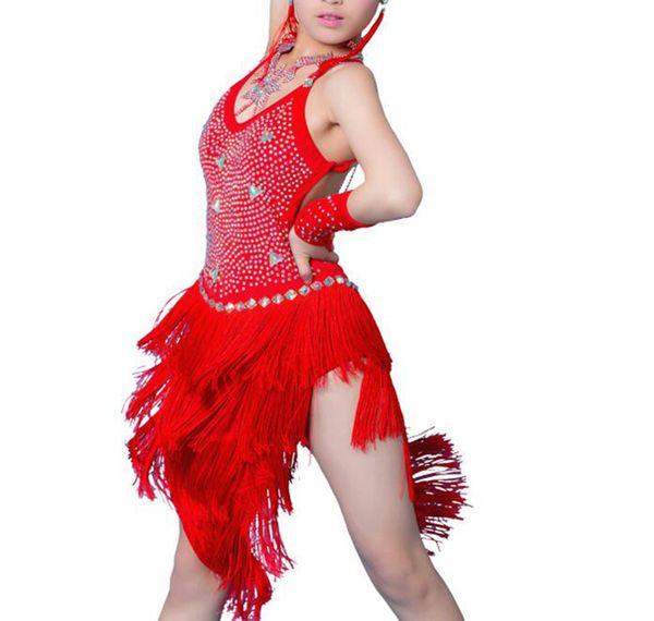Latin Skirt Girl High Quality Custom Made Profession Tassel Rumba Costume Children Fringe Competition Dance Latin Dress