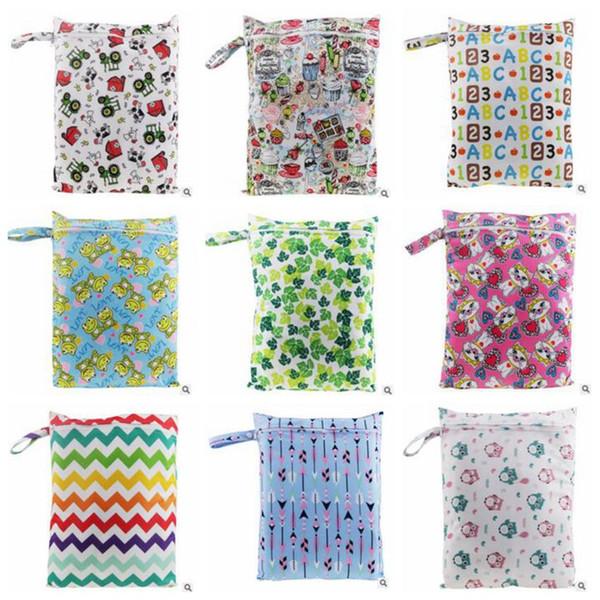 top popular Baby Diaper Bags Nappy Stackers Bags Infant Stroller Cart Bags Wet Dry Cloth Storage Bag Portable Zipper Waterproof Diaper Organizer B2812 2021