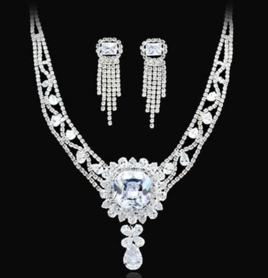 meraviglioso diamante bianco cristallo sposa set da sposa orecchini (spwhy) h
