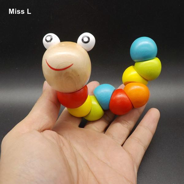 Holz Wackelwurm Regenbogen Spielzeug Twist-fähiges Spiel Bunte Twist Baby Finger Geschicklichkeitstraining Spielzeug Geschenk Kind Kind