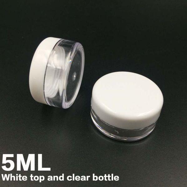 Envío gratis White Lid 5ML PS tarro de crema, Mini botella de muestra de crema cosmética envase caja de presentación de envases cosméticos 5g Mini botella de plástico