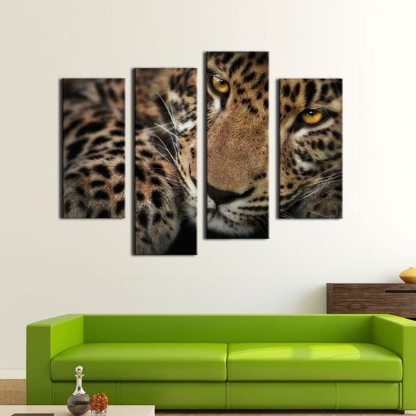 4 Panel Wall Art Painting Fleck Leopard Prints On Canvas The Picture Animal Pictures Oil For Home Modern Decoration Print Decor For Items