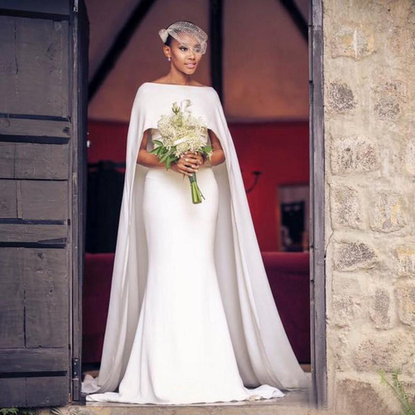 Modelo Vestido Noiva Simples 2017 Branco Chiffon Sereia Vestidos De Casamento Com Cowl Faz Baratos Bateau Capela Trem Longo Vestidos De Noiva Custom