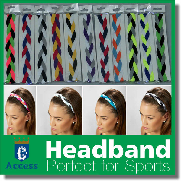 top popular New arrival Braided non slip sports headband anti-glissement grip headbands keep your eyes on the prize 2020