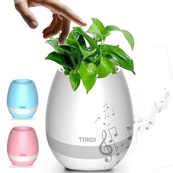 Moda Inteligente Bluetooth Music Garden Bonsai Music Flower Pot Noche Luz Smart Touch Planters Ollas Lámpara Recargable