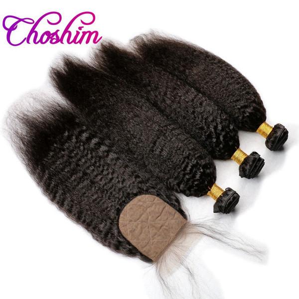 Slove Rose Silk Base Closure mit Bundles Remy Hair verworren gerade für schwarze Frau Silk Base Closure mit 3or4 Bundles Baby Hair 10A