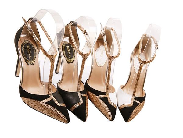 Zapatos de vestir de oro negro blanco Zapatos de tacón con correa en el tobillo Tacones altos Venta caliente Zapatos de boda con purpurina Zapatos de tacón alto con punta puntiaguda Zapatos de mujer