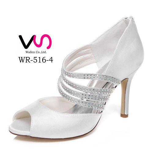 10 Cm High Ivory Color Elegant Nice Rhinestone Sandal Bridal Shoes Wedding Dress Handmade