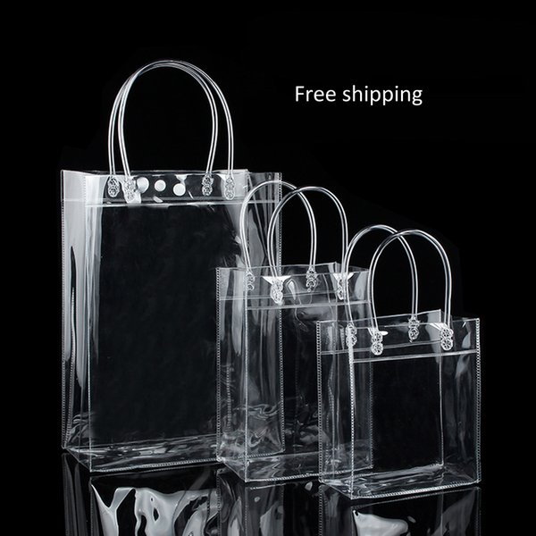 40pcs High Quality Transparant PVC gift tote packaging bags with hand loop clear Plastic handbag closable garment bag free shipping