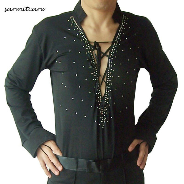Male Latin Dance Shirt for Men Samba Dance Costumes Tango Samba Costume Dance Clothes Latin Shirts 6 Choices D0700 Deep V Neck Rhinestones