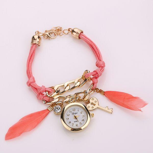 New Design Relogio Feminino Retro Clock Women Girl Watches Handmade Braided With Key Feather Pendant Dial Quarzt Watches
