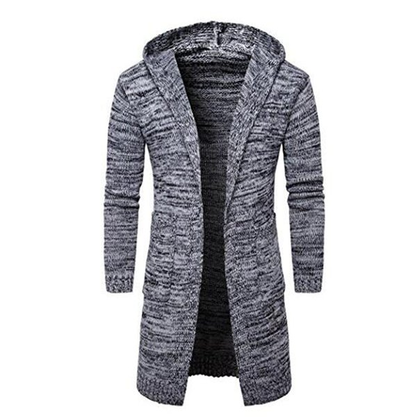 New Mens Fashion Cardigan Long Sleeve Hooded knit Sweater Long Trench Coat Winter Jacket